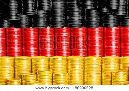 german money flag constructed from stack of coins
