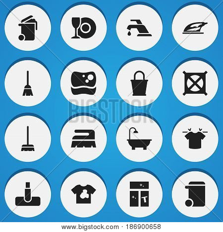 Set Of 16 Editable Hygiene Icons. Includes Symbols Such As Washing Glass, Whisk, Dustbin And More. Can Be Used For Web, Mobile, UI And Infographic Design.