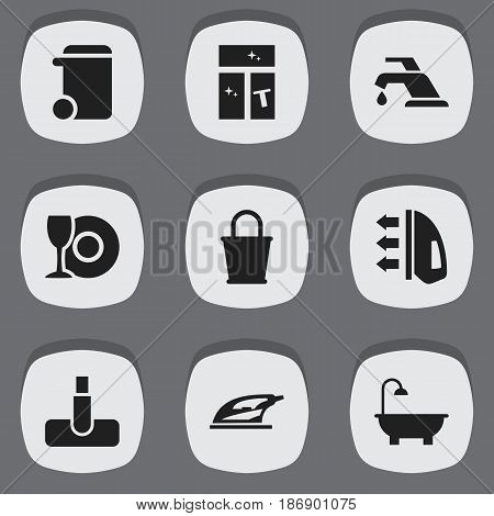Set Of 9 Editable Cleaning Icons. Includes Symbols Such As Appliance, Washing Glass, Hoover And More. Can Be Used For Web, Mobile, UI And Infographic Design.
