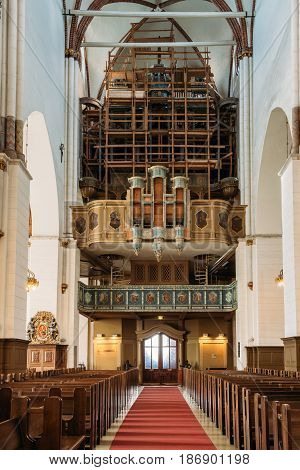 Riga, Latvia - July 2, 2016: Old Organ In The Riga Dom Dome Cathedral Church.