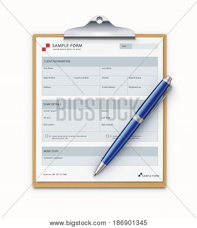 Vector illustration of clipboard with sample form mock-up and detailed blue classic ballpoint pen