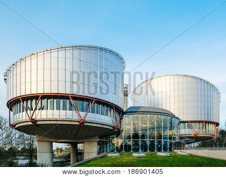 STRASBOURG FRANCE - MAR 31 2017: European Court of Human Rights in Strasbourg building - Rule of law for European countries