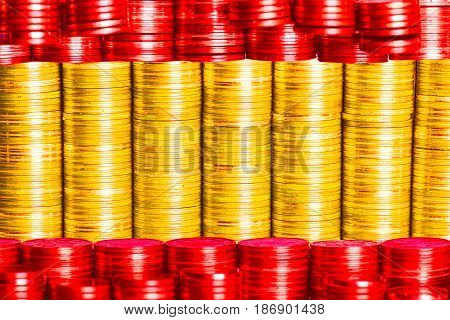 spanish money flag cunstructed from stacks of coins