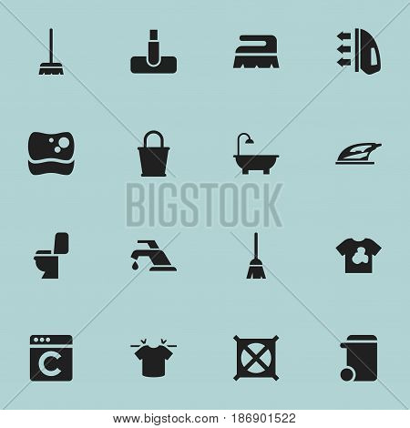 Set Of 16 Editable Cleaning Icons. Includes Symbols Such As Pail, Bathroom, Broomstick And More. Can Be Used For Web, Mobile, UI And Infographic Design.