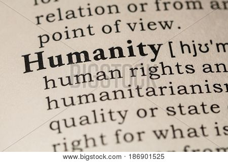 Fake Dictionary Dictionary definition of the word humanity. including key descriptive words.