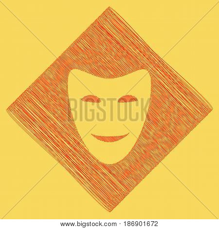Comedy theatrical masks. Vector. Red scribble icon obtained as a result of subtraction rhomb and path. Royal yellow background.