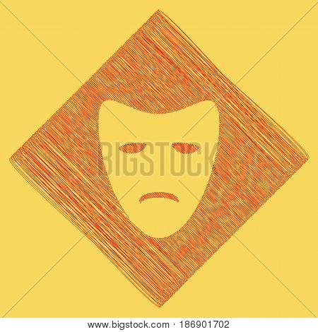Tragedy theatrical masks. Vector. Red scribble icon obtained as a result of subtraction rhomb and path. Royal yellow background.