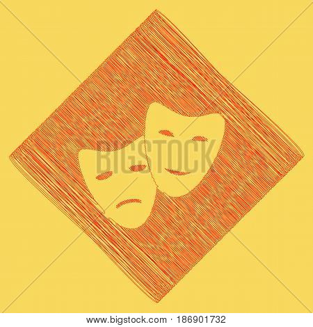 Theater icon with happy and sad masks. Vector. Red scribble icon obtained as a result of subtraction rhomb and path. Royal yellow background.