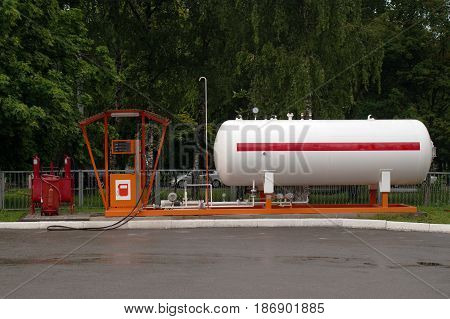 Liquid propane gas station after rain. LPG station for filling liquefied gas into the vehicle tanks.