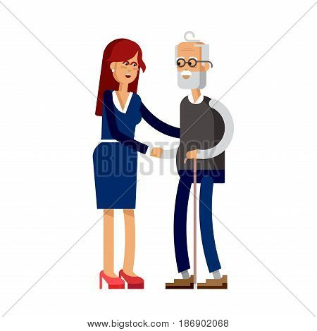 Daughter walk with elderly grandfather. Vector flat illustration adult daughter and elderly father are embracing.
