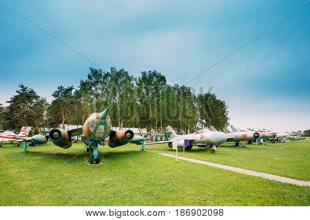 Old Russian Soviet Military Planes Aircraft Fighters And Bombers Stands In Row At Aerodrome