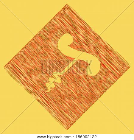 Corkscrew sign illustration. Vector. Red scribble icon obtained as a result of subtraction rhomb and path. Royal yellow background.