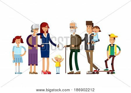 Flat illustration multi-generation family. Family portrait. Parents with their childrens. Grandmother, grandfather, mother, father, daughter, son Happy family together