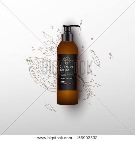 Realistic spray pistol cleaner, plastic bottle, trigger spray. Mock up bottle. Cosmetic vial, shampoo, oil, gel. Design black label. Cocoa fruit background