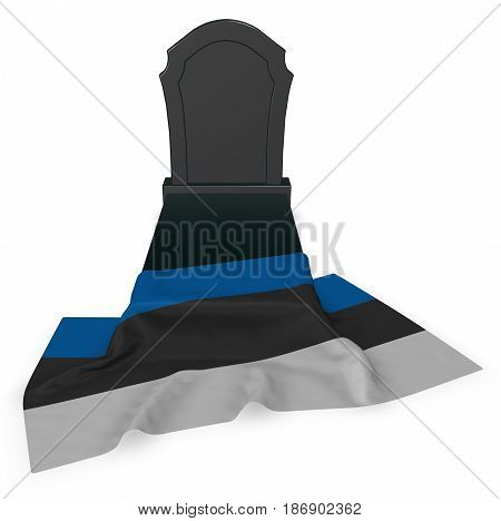 gravestone and flag of estonia - 3d rendering