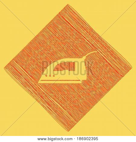 Smoothing Iron sign. Vector. Red scribble icon obtained as a result of subtraction rhomb and path. Royal yellow background.