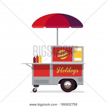 Hot dog street cart. Fast food stand vendor service. Kiosk seller business. Flat style. Vector illustration