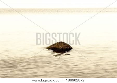stone in the water with calm sea