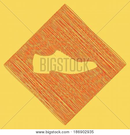 Men Shoes sign. Vector. Red scribble icon obtained as a result of subtraction rhomb and path. Royal yellow background.