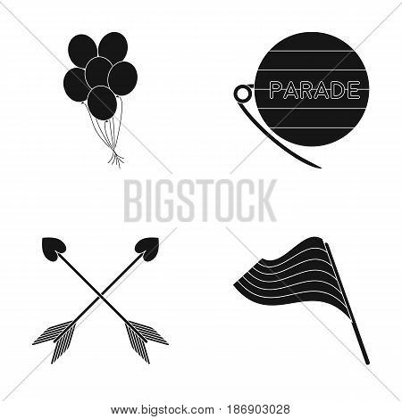 Balls, gay parade, arrows, flag. Gayset collection icons in black style vector symbol stock illustration .
