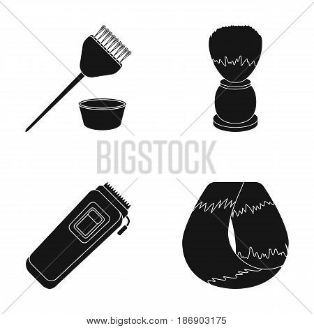 Brush for painting hair and other equipment. Hairdresser set collection icons in black style vector symbol stock illustration .