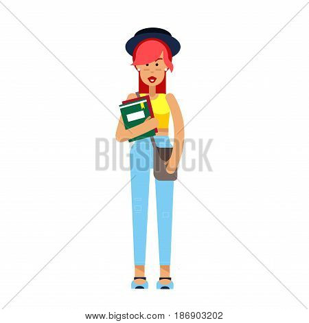 Vector detailed character people, character young women or sudent, woman in casual clothing style. Business women, character creative woman, people lifestyle isolated on white background