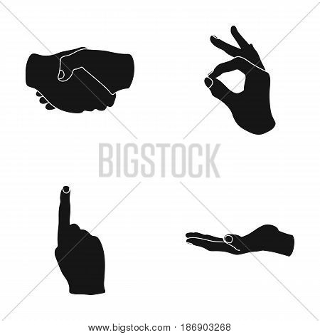 Handshake, okay, index up, palm. Hand gesturesv set collection icons in black style vector symbol stock illustration .