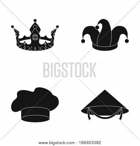 Crown, jester's cap, cook, cone. Hats set collection icons in black style vector symbol stock illustration .