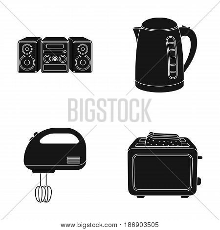 Electric kettle, music center, mixer, toaster.Household set collection icons in black style vector symbol stock illustration .