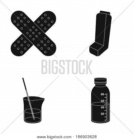 Plaster, inhaler, solution in a glass.Mtdicine set collection icons in black style vector symbol stock illustration .