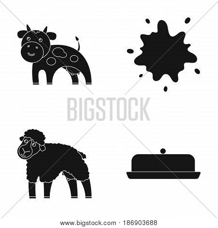Cow, sheep, a drop of milk, butter. Milk set collection icons in black style vector symbol stock illustration .