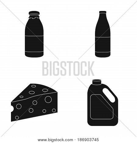 A bottle of kefir, a can, a piece of cheese. Moloko set collection icons in black style vector symbol stock illustration .