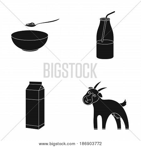 Bowl of cottage cheese, yogurt, milk package, goat. Milk set collection icons in black style vector symbol stock illustration .