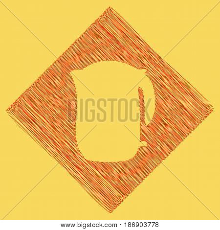 Electric kettle sign. Vector. Red scribble icon obtained as a result of subtraction rhomb and path. Royal yellow background.