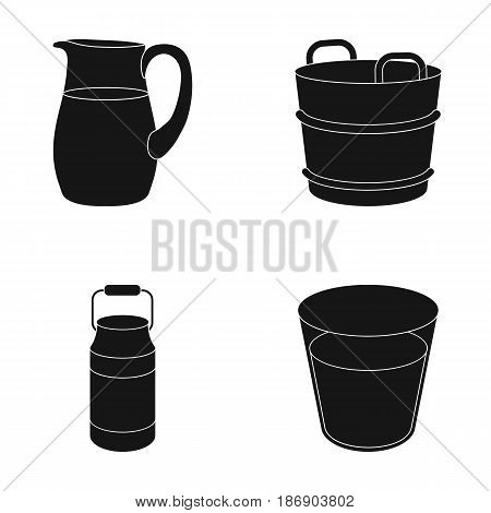 A can, a glass, a jug, a tub. Moloko set collection icons in black style vector symbol stock illustration .