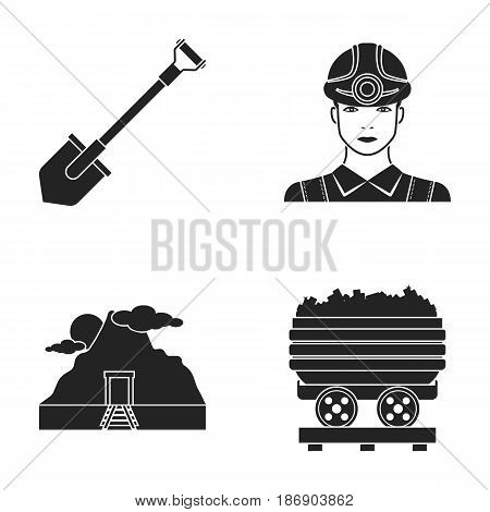 A shovel, a miner, an entrance to a mine, a trolley with coal.Mine set collection icons in black style vector symbol stock illustration .