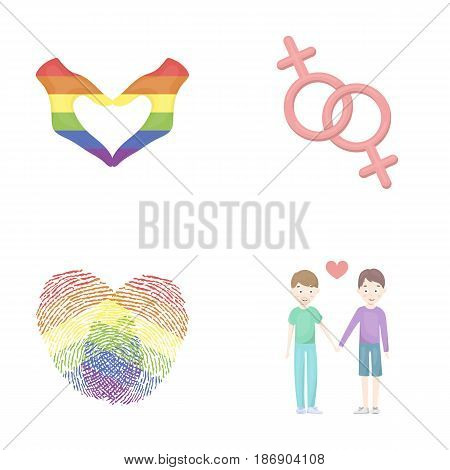 Hands, feminism, fingerprints. Gay set collection icons in cartoon style vector symbol stock illustration .
