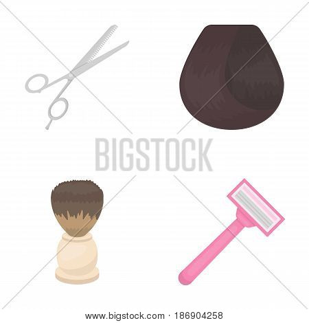 Scissors, brush, razor and other equipment. Hairdresser set collection icons in cartoon style vector symbol stock illustration .