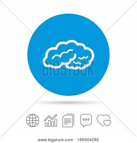 Brain sign icon. Human intelligent smart mind. Copy files, chat speech bubble and chart web icons. Vector