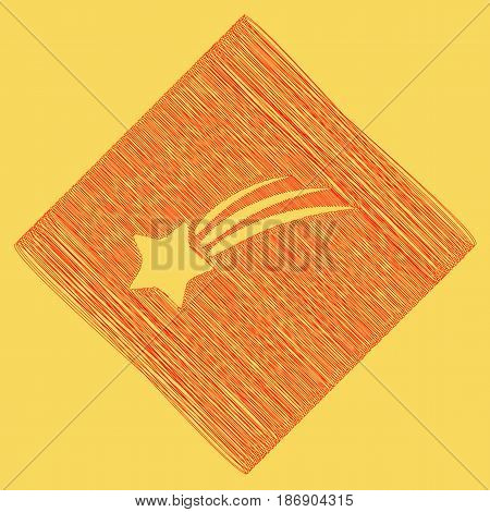 Meteor shower sign. Vector. Red scribble icon obtained as a result of subtraction rhomb and path. Royal yellow background.