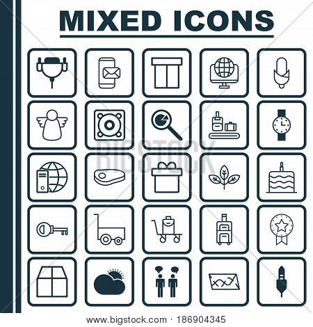 Set Of 25 Universal Editable Icons. Can Be Used For Web, Mobile And App Design. Includes Elements Such As Music, Project Analysis, Vga Cord And More.