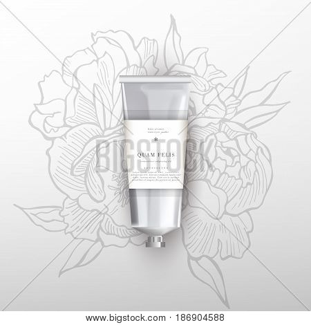 Blank realistic tube for cosmetics, cream, ointment, toothpaste, lotion, medicine creme with design label, sticker. Beauty cosmetic tube. Flowers peonies background.