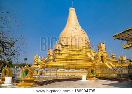 Kuthodaw pagoda in Mandalay. Myanmar. (Burma). There are largest book of the world.