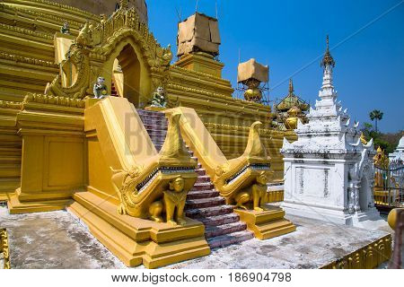 Central zedi of the Kuthodaw pagoda in Mandalay. Myanmar. (Burma). There are largest book of the world.
