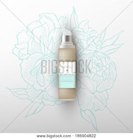 Beige realistic tube mock-up for cream dispenser, lotion, gel, medicine cream, tone cream, ointment, concealer, salve. Cosmetic vial with design label. Flowers peonies background.