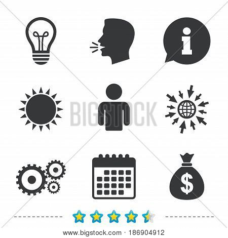 Business icons. Human silhouette and lamp bulb idea signs. Dollar money bag and gear symbols. Information, go to web and calendar icons. Sun and loud speak symbol. Vector