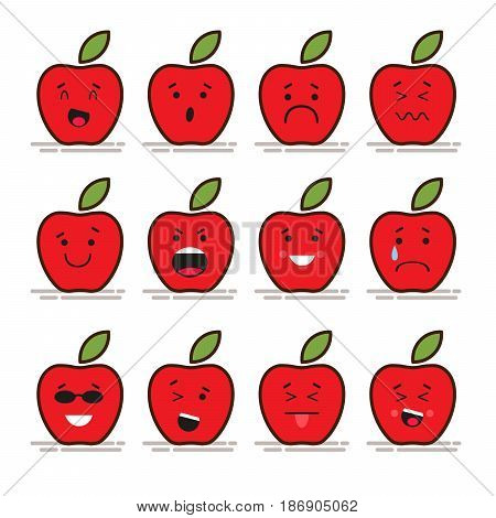 Set of 12 modern flat emoticons: Red apple with leaf, food, fruit, smile, sadness and other emotions. Vector illustration isolated of red background