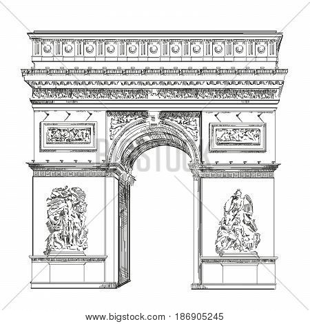 Triumphal Arch (Landmark of Paris France) vector isolated hand drawing illustration in black color on white background