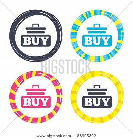 Buy sign icon. Online buying cart button. Colored buttons with icons. Poker chip concept. Vector