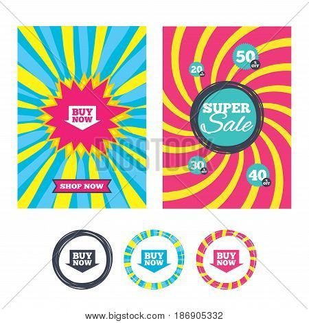 Sale banners and labels. Special offer tags. Buy now sign icon. Online buying arrow button. Colored web buttons. Vector